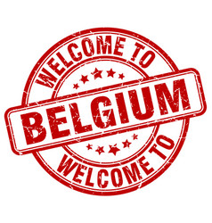 Welcome to belgium red round vintage stamp vector