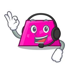 with headphone trapezoid mascot cartoon style vector image