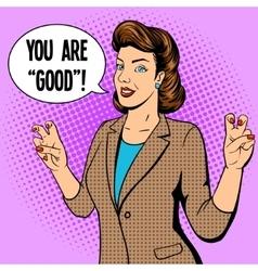 Woman shows quote gesture pop art vector image