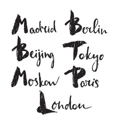 World capitals lettering vector