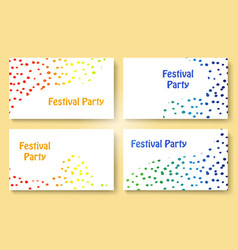 abstract dots festive party business card set vector image