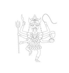 kali in outline style for coloring vector image vector image