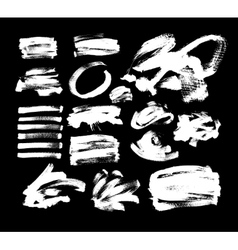 set of 20 white ink hand drawing brushes vector image