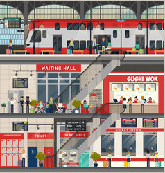 train or locomotive station metro or subway vector image vector image