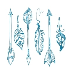 American indians feather arrows set old vector image vector image