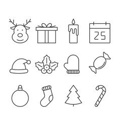 christmas line icon set vector image