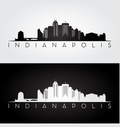 indianapolis usa skyline and landmarks silhouette vector image