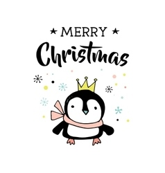 Merry Christmas greeting card with penguin vector image vector image