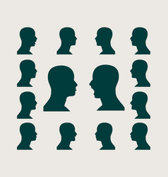 silhouettes collection of a mans head vector image vector image