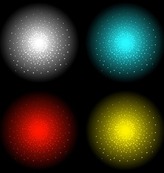 Star shine effect white aqua red yellow vector image