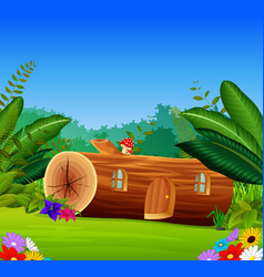 a wood house in a beautiful nature vector image