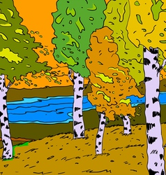 autumn sunny landscape with forest river - vector image