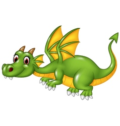 Cute green dragon flying isolated vector image vector image