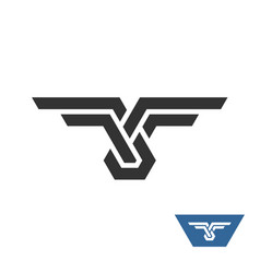 knot geometric logo with wings vector image vector image