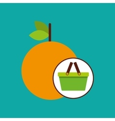 green basket fresh orange design icon vector image vector image