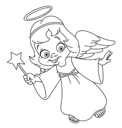 outlined christmas angel vector image