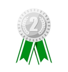Silver medal for second place prize vector image