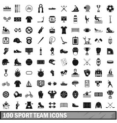 100 sport team icons set simple style vector