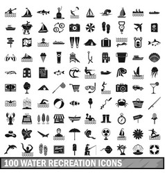 100 water recreation icons set simple style vector image