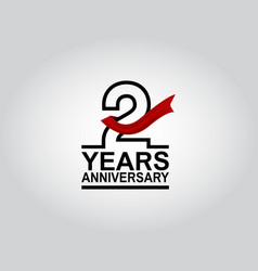 2 years anniversary logotype with black outline vector