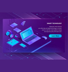3d isometric site with smart devices vector