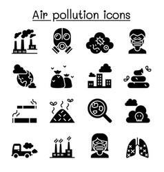 air pollution icon set in thin line style vector image