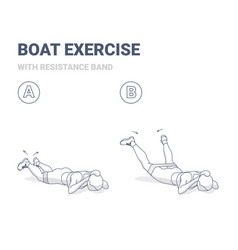 Back boat with resistance band home workout vector