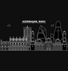 baku silhouette skyline azerbaijan - baku vector image