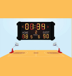 Basketball field with scoreboard vector