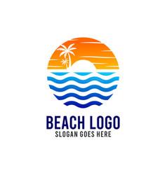 beach and sunshine logo design template vector image