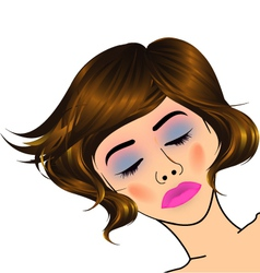 beautiful lady with golden highlights on hair vector image