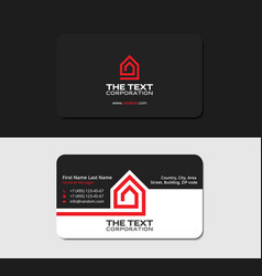 Black business card real estate red color vector