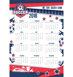 Calendar 2018 for soccer or football vector