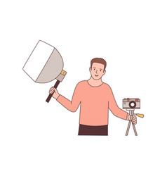 cameraman with photographic equipment flat vector image