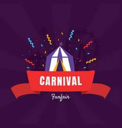carnival funfair banner template with circus tent vector image