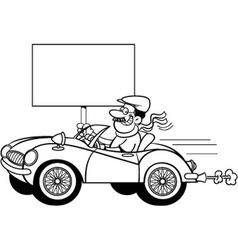 Cartoon man in a sports car holding a sign vector