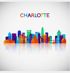 Charlotte skyline silhouette in colorful vector