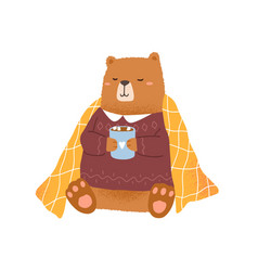 childish bear holding cup with hot cocoa with vector image