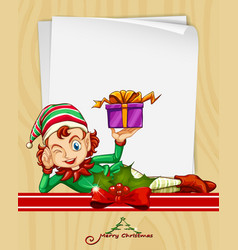 christmas card with elf and present vector image