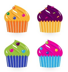 Colorful birthday cakes set isolated on white vector image