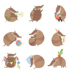 Cute armadillos set adorable pleistocene animals vector