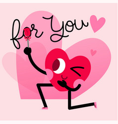 cute heart character greeting card with lettering vector image