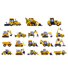 Different types of construction trucks set heavy vector