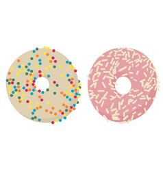 Donuts top view glazed donuts or doughnuts set vector