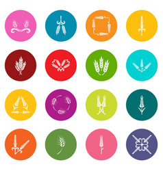 ear corn icons set colorful circles vector image