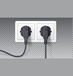 electric plugs and socket realistic black plugs vector image
