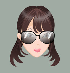 Emoticon calm asia girl with glasses vector