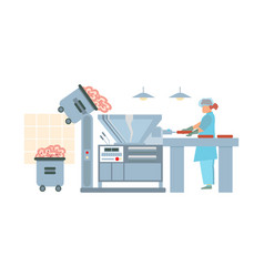 Factory sausage making composition vector