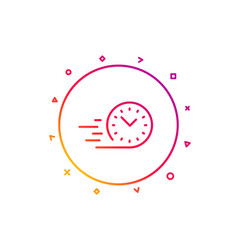 Fast delivery line icon time sign vector