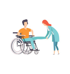 female doctor helping woman sitting on wheelchair vector image